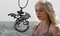 Wholesale Jade Dragon Pendant Wholesale - The Song Of Ice And Fire Game Of Thrones Daenerys Targaryen Dragon Badge Necklace Unisex Necklaces Of Juego DeJewelry gift Free Shipping DHL