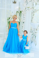 Wholesale Made Match Ribbon - Parent-Child Mother And Daughter Matching Formal Prom Dresses Sweep Train Pleated Flower Girls Dresses Ribbon Special Occasion Dress