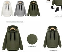 Wholesale Cheap Hoodie Jackets - sales cheap Arm Green New Winter Autumn Loose Hooded Jacket Plus Size Thick Velvet Long sleeve Sweatshirt Korean Style Hoodies OXL092901