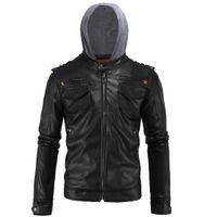 chaqueta de cuero de la pu con capucha al por mayor-4XL la chaqueta con capucha Para Hombres THOOO Mens de la marca de la PU otoño chaquetas de cuero de imitación de cuero de negocios Outwear el ajuste delgado de la motocicleta de los hombres de la chaqueta J161017