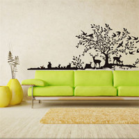 Wholesale Home Fashion Decoration Wall Stickers - fashion home Decoration cute animal wall sticker Creative DIY big jungle elk bird Carved Removable Windows art Sticker home Decor Wholesale