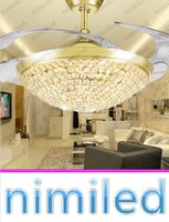 "Wholesale Luxury Pendant Lamp - nimi926 36"" 42"" Invisible Luxury Crystal Ceiling Fan Light Lights LED Bedroom Chandelier Living Room Restaurant Pendant Lamp Gold Silver"