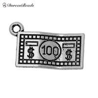 "Wholesale Dollar Signs Necklace - Wholesale-Zinc metal alloy Charm Pendants Rectangle Antique Silver Silver Dollar sign Pattern 21mm(7 8"")x 13mm(4 8""),1 Pc 2015 new"