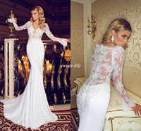 Wholesale Dalia Dress - Dimitrius Dalia Chiffon Beach Wedding Dresses V-Neck Ruffles Sequined Crystals Sweep Train 2017 Mermaid Long Sleeves Bridal Wedding Gowns