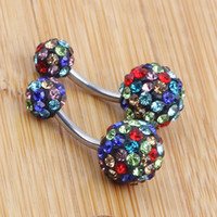 Wholesale heart disco ball for sale - Multi Color Crystal Ball Belly Bar Ring mix style Crystal Disco Ball Ferido Belly Button Navel Ring
