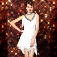 Wholesale Dresses Fringes - 1920s Sexy V Neck Beaded Vintage Sequin Flapper Lady Gatsby Dresses Halloween Costumes Clothes Dance Wear Fringe Tassel Prom