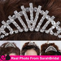 Wholesale Silver Queen Crown - Rhinestone Brides Girls Queen Headwear Crowns Cheap Bridal Tiaras Wedding Party Prom Dresses' Hair Comb Accessories Head Piece For Bride