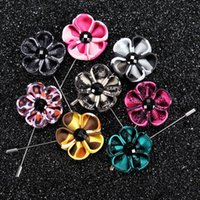 Wholesale Mens Wedding Suit Flowers - 2016 High Quality Handmade Flower Boutonniere Stick Brooch Pin Mens Accessories Men Lapel Pin Brooch Flower Suit 13 Color Hot
