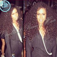 Wholesale Human Kinky Lace Wig - Stock 130%-180% density kinky curly virgn hair brazilian glueless full lace wig human curly front lace wig with baby hair for black women
