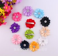Wholesale hair styles for flower girls - Baby Girls cm Grosgrain Fabric Flowers For DIY headbands Kids Hair Clips Christmas Hair Styling Accessories Headwear