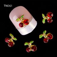 Wholesale Nails Gliter - Wholesale- 10Pcs New 2015 Gliter Red Flower ,3D Metal Alloy Nail Art Decoration Charms Studs,Nails 3d Jewelry TN061