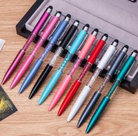 Wholesale Touch Screen Writing Pen - stylus pen Both Stylus and Normal Ball Point Writing Pen Crystal 2 in 1 Stylus Touch Screen Pen for iphone ipad Tablet PC Smartphone