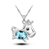 Wholesale Cheap Horse Necklaces - New Delicate Horses Charms Pendant Necklace Silver Necklaces Jewelry Cheap Women Fashion Jewelry Crystal Necklaces Wholesale