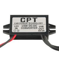 circuits d'alimentation achat en gros de-Module de convertisseur CC / CC de protection de circuit CPT 8V / 12V / 16V / 20V / 24V à 5V 3A 15W Adaptateur secteur de sortie USB double