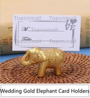 Lucky Gold Elephant Place Titulares de cartões Table Name Holder Wedding Centerpiece Favors Gift Party Decoração TPML-5369
