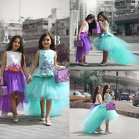 Wholesale Glitz Pageant Dress Hi Lo - Two Pieces Tulle Flower Girls Dresses For Weddings Applique High Low Glitz Pageant Dress Sleeveless Little Girl Gowns