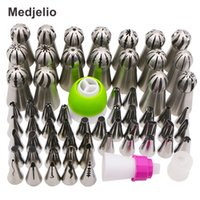 Wholesale Stainless Steel Icing Piping Tips - Medjelio 60Pcs Pastry Nozzles Set Stainless Steel Russian Icing Piping Tips DIY Cake Decorating Tips Set Baking Tools 3 coupler