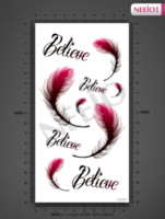 Wholesale Beautiful Back Tattoos - Women beautiful temporary tattoos belief plume feather with word believe belly back waist transfer tattoo stickers waterproof