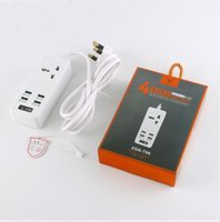 T06 T07 Home Office Power Bank Strip 4 USB Charger Ports 2 Enchufe estándar EU US UK AU PLUG con venta al por menor