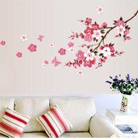 flor de arte mural al por mayor-Al por mayor-venta al por mayor hermosa sakura pegatinas de pared que viven las decoraciones del dormitorio 739. diy flores pvc home tatuajes mural arts poster 3.5