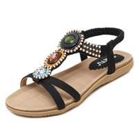 Wholesale Leather Sandals Women American - New Fashion women Shoes European and American Style Women Sandals Bohemian Beaded Flat Shoes Large Size women Shoes