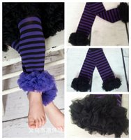 Wholesale Chiffon Ruffle Leggings - 200Pair Lot Halloween Leg Warmers,Candy Stripes Purple Black Ruffle Leg Warmers,Baby Leg Warmers ,Autumn chiffon ruffle girls leggings