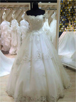 Wholesale Custom Dress Making China - China 2016 Puffy A Line Off Shoulder Lace Long Floor Length Custom Made Formal Bridal Gowns Designs NW015 Bridal Wedding Dress