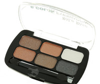 Wholesale grey pearls set - Nude Smoky Pearl Eye Shadow Make Up Light Eyeshadow Cosmetics Set With Brush 6 Colors Eye Makeup Palette