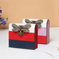 Wholesale Wallet Purse Logo - Women Wallets Brand Bee Genuine Leather Women Short Purse Best Gifts for Christmas OEM LOGO