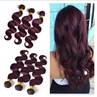 Virgin Peruvian Wine Red Hair Bundles # 99J Bourgogne Peruvian 3Bundles Body Wave Wavy Virgin Remy Cheveux humains Extensions de tissus 3Pcs Lot