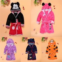 Wholesale Cotton Flannel Nightgowns - Kids Bathrobes Nightgowns Cotton Baby Hooded Bath Towels Cartoon Mickey Minnie Mermaid Tiger Pajamas Children Home Clothing Free DHL 05