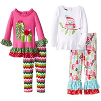 Wholesale Cheap European Clothes - Cheap Christmas Kids clothes Outfits Cute animal Owl Petal flare sleeve Top + pant 2017 kids 2-6years Free FEDEX shipping European
