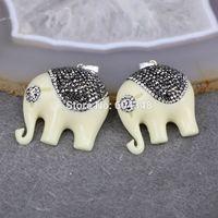 Wholesale Elephant Shaped Jewelry - 5pcs Charm Elephant shape Resin Druzy Pendant, with Pave Crystal Zircon Gem Resin Pendant, For Jewelry Making