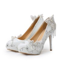 Wholesale Elegant Prom Heels - Sparkling Butterfly Wedding Shoes Crystal Bride Dress Shoes Elegant Women Dress Pumps Graduation Party Prom Shoes Platform Pump