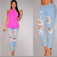 Ripped Jeans Für Frauen Elastik Taille Hole Jeans Hosen Skinny Hohe Taille pantalones vaqueros mujerTight Pencil Jeans Baumwolle 207