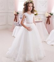 Wholesale Cheap Vest Wrap - Princess Ball Gown White Lace Flower Girls Dresses For Weddings Cheap 2016 Tulle Belt Bow Knot Custom First Communion Dress Gown