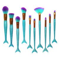 Wholesale blue color eyeliner - 10pcs Set lot Mermaid Color Make Up Eyebrow Eyeliner Blush Blending Contour Foundation Cosmetic Beauty Makeup Brush Tools