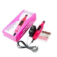 Wholesale Nail Drills Wholesale - More Choice Plugs (US EU AU and UK plug) Electric False Nail Art Drill File Buffer MACHINE MANICURE 6 Bits 110V 220V JTW44_10