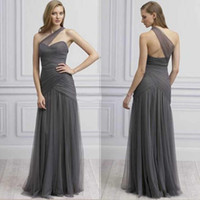 Wholesale Grey Open Back Prom Dress - Cheap Prom Dress 2016 Grey Tulle Ruched Sweetheart One Shoulder Sleeveless Open Back Long Formal Evening Party Gowns Sheath Floor Length