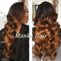siyah kadınlar için ombre perukları toptan satış-8A Ombre Brezilyalı İnsan saç dantel Peruk İnsan Saç Peruk Tutkalsız Tam Dantel Peruk Siyah Kadınlar Için Dantel Ön Peruk