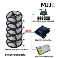 Wholesale Rgb Connectors - Synchronously 25M SMD 5050 Waterproof IP65 RGB LED Strip Light +1PC Wifi 12A RGB Controller+1PC 12V 25A 300W Power Supply + Connectors
