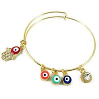 Wholesale Evil Eye Rhinestone Bracelet - Clear Crystal Fatima Hand Charm Bracelets With 3 Evil Eye Luxury Brand 18k Gold Women Bangles Bracelet Party Jewelry Wholesale