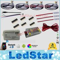 adaptateur rgb 12v achat en gros de-30m 20m Bluetooth led bande RGB RGBW bicolore dimmable 5050 3528 étanche + contrôleur léger + amplificateur + adaptateur secteur