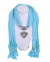 Wholesale Embellished Scarf Necklace - Wishcart 2016 NEW ARRIVAL Scarf hangers Necklace Jewelry Silver HEART SHAPED Pendants Scarves set Soft Fabric 7 Colors 1 piece free Shipping