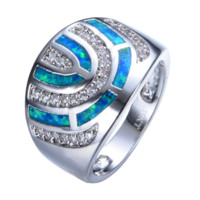 Wholesale Vintage Gold Fire Opal Ring - Fashion Geometric Blue Fire Opal Ring White Gold Filled Crystal Jewelry Vintage Wedding Rings For Men And Women RP0039