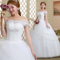online shopping Ball Gown Wedding Dress - Wedding Dress 2016 Vintage Beach Ball A-Line Bateau Beads Pearls Tulle Lace Up Back Floor Length Bridal Dresses Cheap