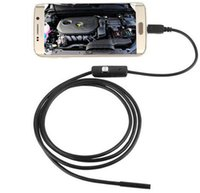 lente de endoscopio al por mayor-Impermeable 720P HD 7mm lente inspección tubo 1m endoscopio Mini USB cámara serpiente tubo con 6 LEDs boroscopio para Android teléfono PC