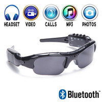 1280 * 720P HD Hidden Sport Bluetooth gafas de sol Spy hidden Camera Video Grabador gafas con auriculares Bluetooth y reproductor de MP3 manos libres