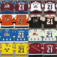 Wholesale Retro Philadelphia - Custom Retro 21 Peter Forsberg Jersey Colorado Avalanche 1996 2001 2002 2010 Philadelphia Flyers 2006 Quebec Nordiques 1994 Throwback Jersey
