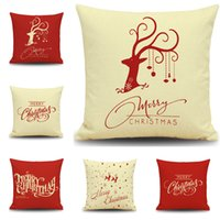 Wholesale Wholesale Reindeer Decor - Christmas Reindeer Cushion Cover Happy New Year Pillow Cover Christmas Reindeers Pillow Case Home Decor Pillowcases